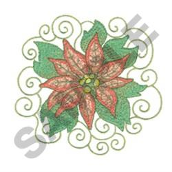 POINSETTIAS AND SWIRLS embroidery design