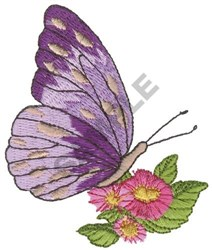 Butterfly on Flowers embroidery design