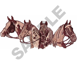 FOUR HORSE HEADS embroidery design