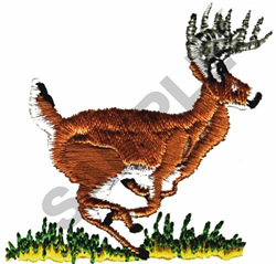 WHITETAIL BUCK RUNNING embroidery design