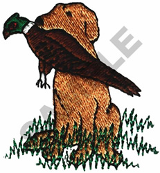 RETRIEVER WITH PHEASANT embroidery design