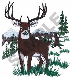 DEER AND MOUNTAINS embroidery design