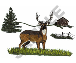 DEER AND BARN SCENE embroidery design