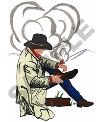 COWBOY SITTING embroidery design