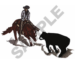 CUTTING HORSE AND COWBOY embroidery design