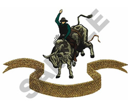 BULL RIDER WITH BANNER embroidery design