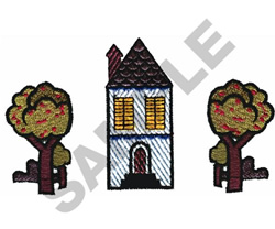 HOUSE AND YARD embroidery design