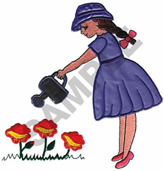 GIRL WATERING FLOWERS APPLIQUE embroidery design