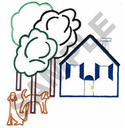 HOUSE AND YARD APPLIQUE embroidery design