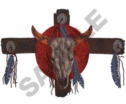 BUFFALO SKULL MOTIF embroidery design