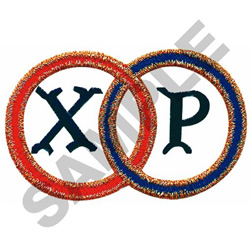 CHI RHO IN JOINED RINGS embroidery design