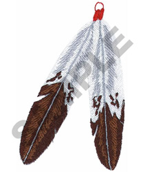 TWO INDIAN FEATHERS embroidery design