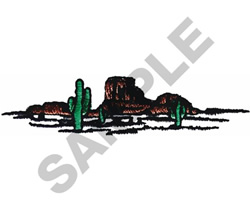 CACTUS AND BUTTES embroidery design