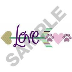 Paw Print Love Arrow embroidery design