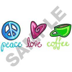 PEACE LOVE COFFEE embroidery design