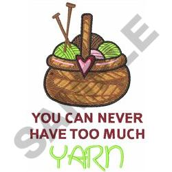 TOO MUCH YARN embroidery design