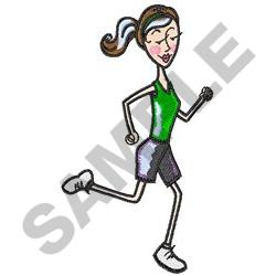 WOMAN JOGGING embroidery design