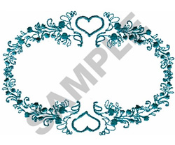 FLOWER & HEARTS OVAL embroidery design