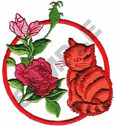 KITTY IN FLOWERS embroidery design
