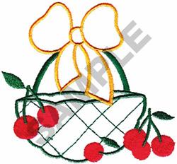 BASKET OF CHERRIES APPLIQUE embroidery design