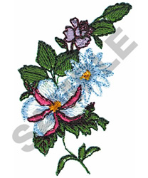 BLUE AND WHITE FLOWERS embroidery design