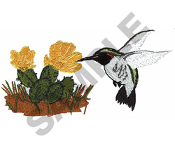 HUMMINGBIRD WITH CACTUS embroidery design
