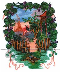 COUNTRY GARDEN SCENE embroidery design