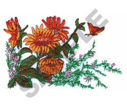 SUNFLOWERS & BUTTERFLY embroidery design