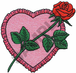 HEART & ROSE embroidery design