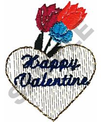 HAPPY VALENTINE HEART embroidery design