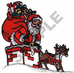 SANTA IN THE CHIMNEY embroidery design
