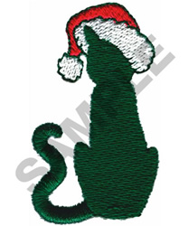 CAT WITH SANTA HAT embroidery design