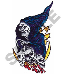 WITCH & SKELETON HEADS embroidery design