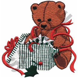 TEDDY WITH CHRISTMAS GIFT embroidery design