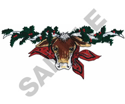CHRISTMAS LONGHORN embroidery design