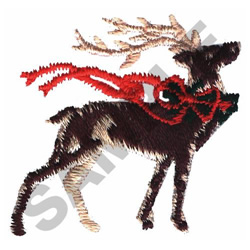 DEER WITH RIBBON embroidery design