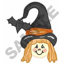 GIRL WITCH AND BAT embroidery design