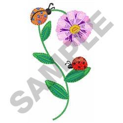 LADYBUGS ON DAISY embroidery design