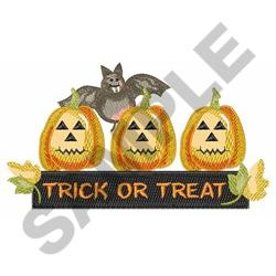 TRICK OR TREAT SIGN embroidery design
