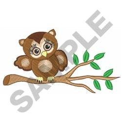 GIRL OWL ON BRANCH embroidery design