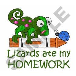 LIZARDS ATE MY HOMEWORK embroidery design