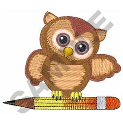 OWL ON PENCIL embroidery design