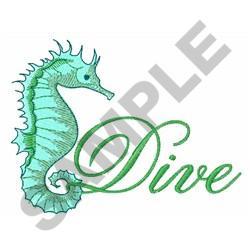DIVE SEAHORSE embroidery design