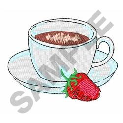 COFFEE CUP AND STRAWBERRY embroidery design