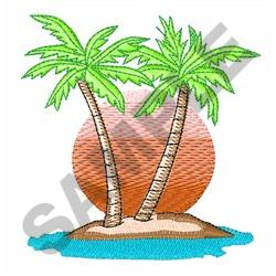 PALM TREES AND SUN embroidery design