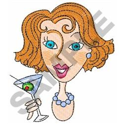 LADY WITH MARTINI embroidery design
