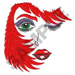 WOMANS FACE AND HAIR embroidery design