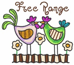 FREE RANGE CHICKENS embroidery design