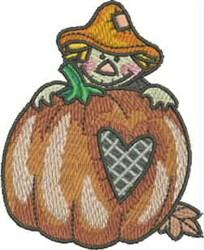SCARECROW BEHIND PUMPKIN embroidery design