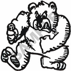 FIGHTING BEAR OUTLINE embroidery design